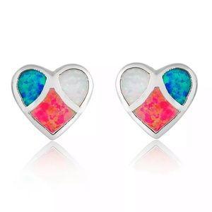 Silver Tone Multicolored Heart Earrings